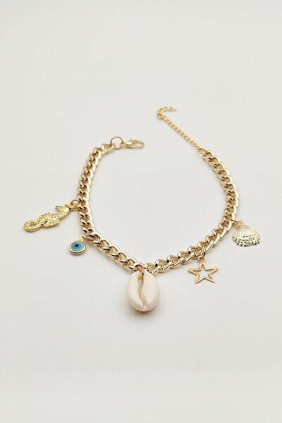 Kadın Gold Deniz Kabuklu Halhal