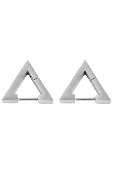 Gümüş Renk Üçgen Unisex Çelik Küpe Ear01