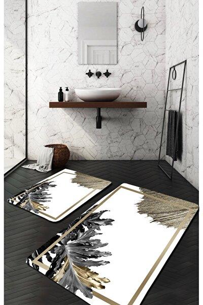 Siyah Beyaz Gold Yapraklı Modern Yıkanabilir 2li Banyo Halısı Paspas 572-03