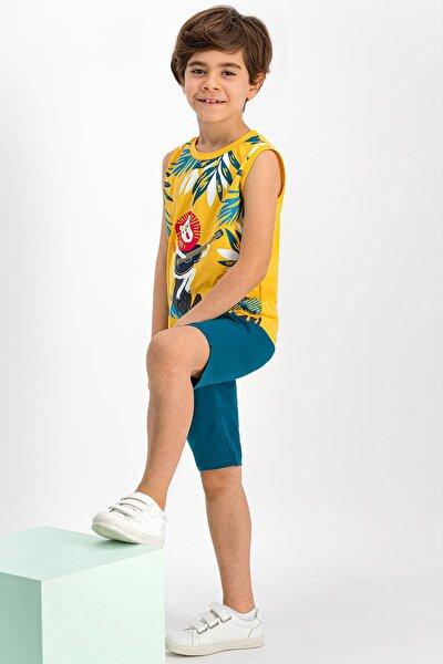 Singer Lion Sarı Erkek Çocuk Bermuda Takım
