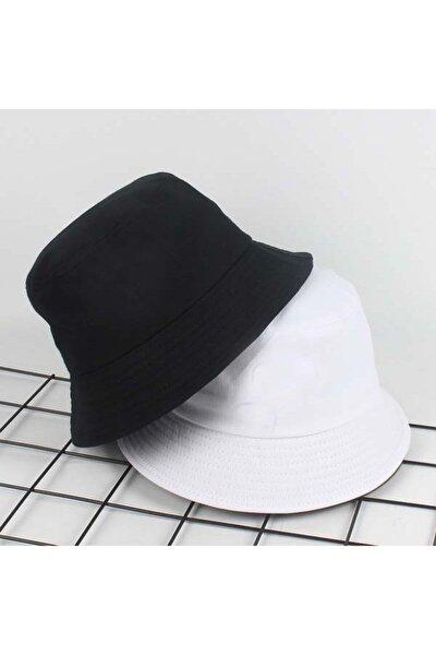 Unisex Siyah Düz Bucket Şapka