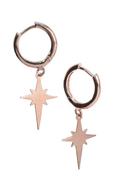 Kadın 925 Ayar Gümüş  Kuzey Yıldızı Küpe - Rose