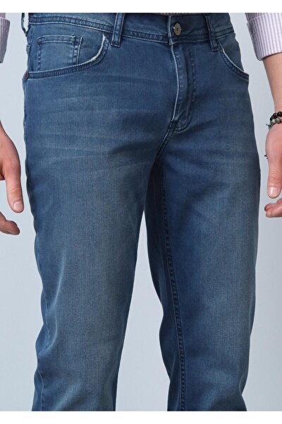 Erkek Lacivert Düz Denim Pantolon RP10119986