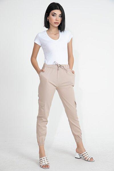 Paçası Ve Beli Lastikli Kanvas Kumaş Kadın Kargo Pantolon