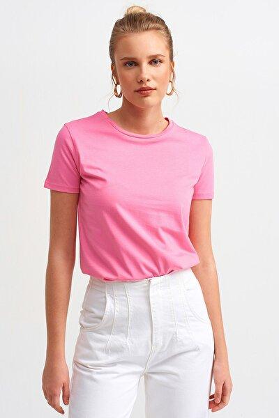 Kadın Fuşya Bisiklet Yaka Basic T-Shirt 101A03471