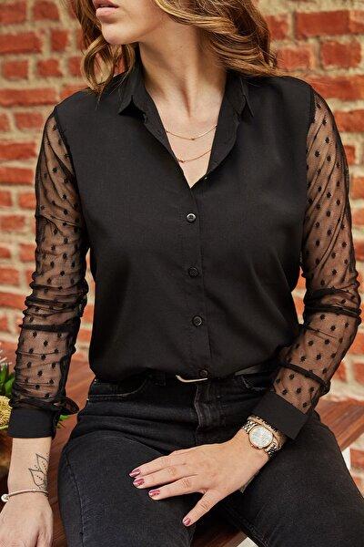Kadın Siyah Kol Detaylı Gömlek 9YXK2-41782-02