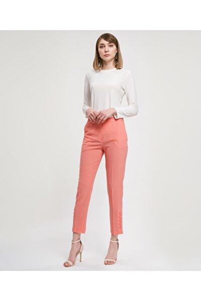 Kadın Somon Düğmeli Cepli  Pantolon V35570117