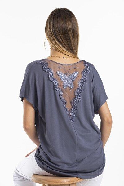 Kadın Gri Sırtı Kelebek Detaylı Bluz