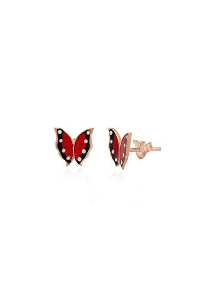925 Ayar Gümüş Kırmızı Mineli Monarch Kelebek Küpe