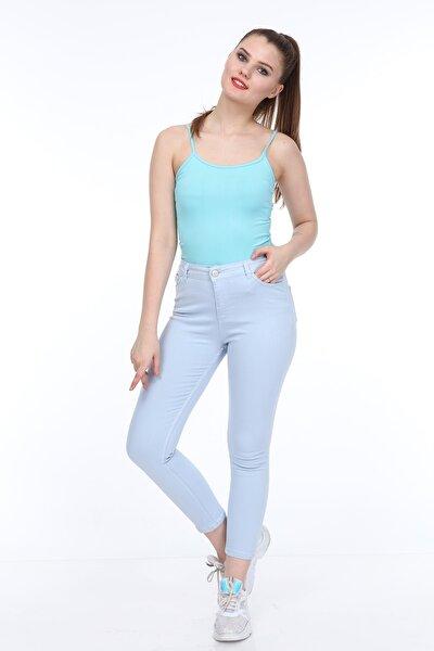 Buz Mavi Yüksek Bel Likralı Kot Pantolon