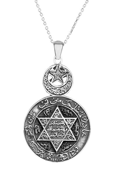 925 Ayar Gümüş Ay Yıldızlı Mührü Süleyman Bayan Kolye Gümüş Renk