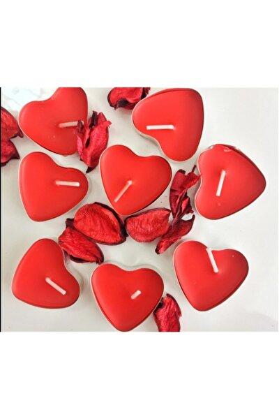 Tealight Mum 10'lu Kalpli Kırmızı
