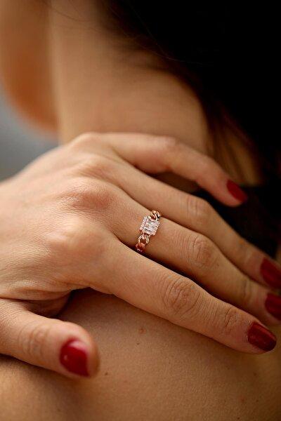 Kadın Zincir Model Zirkon Taşlı Rose Gümüş Yüzük İZLASLVR00028