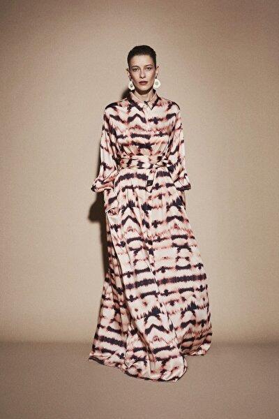 Kadın Kahverengi Madsen Dijital Baskılı Elbise