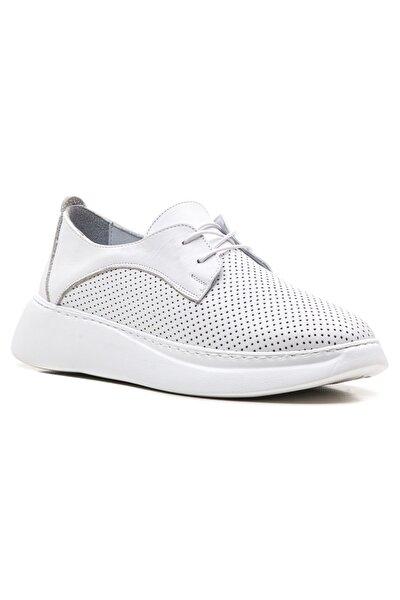 Beyaz Yüksek Tabanlı Hakiki Deri Kadın Sneaker Ayakkabı
