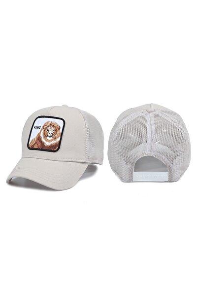 Aslan Hayvan Desenli Şapka Taş Rengi