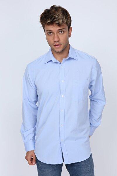 Erkek Açık Mavi  Club Kumaş Detaylı Regular Fit Gömlek