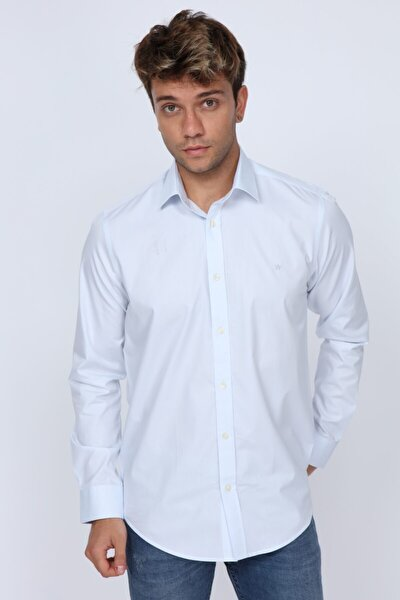 Slim Fit Buz Mavi Erkek Gömlek (mikro Kumaş Detay)