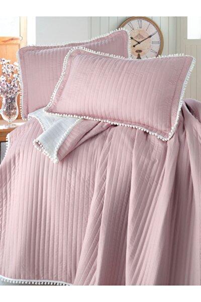 Çift Kişilik Ponponlu Yatak Örtüsü Set