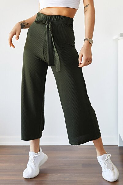 Kadın Haki Beli Kemerli Salaş Pantolon 9yxk5-43306-09