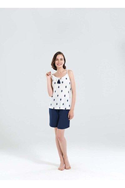 Kadın Lacivert Kısa Pijama Takımı 50138 -