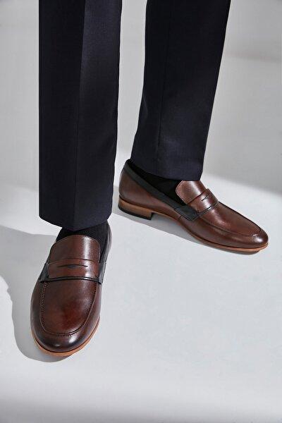 Hakiki Deri Kahverengi Erkek Loafer Ayakkabı