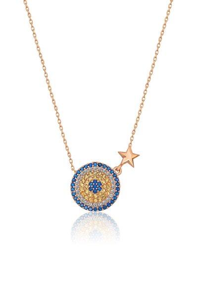 925 Ayar Rose Altın Yıldızlı Gümüş Nazar Kolye