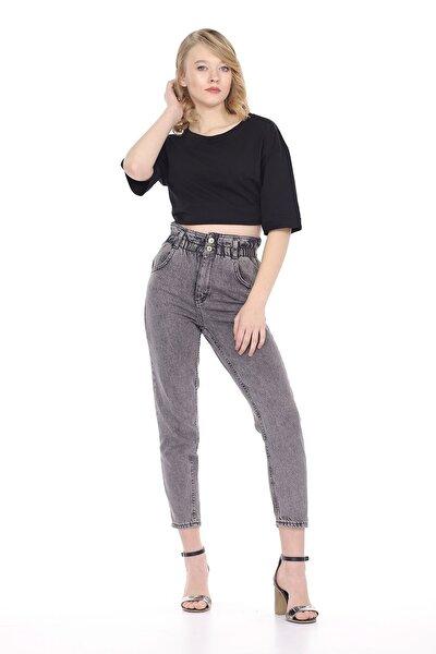 Kadın Lastikli Mom Jeans Pantolon
