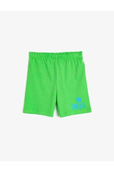 Unisex Bebek Yeşil Baskılı %100 Pamuklu Şort