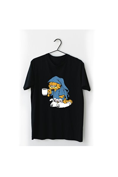Uykulu Garfield Siyah Tişört