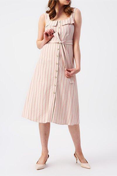 Kadın Çapraz Askılı Retro Midi Elbise