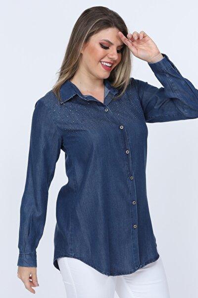 Kadın  Mavi Büyük Beden Tensel  Taş Işlemeli Kot Gömlek  G015