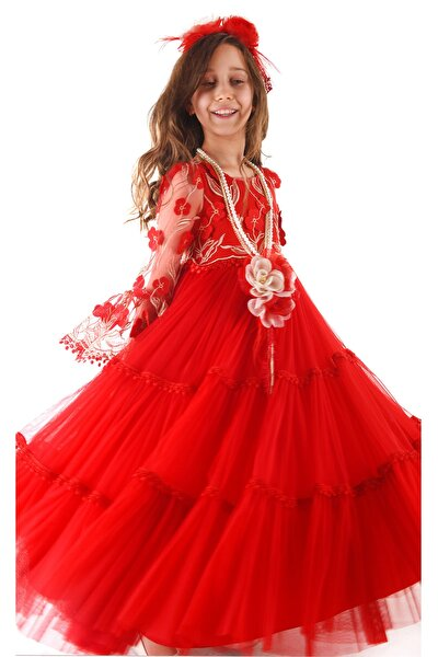 Kız Çocuk Kırmızı Çiçekli Kolye Ve Taçlı Uzun Elbise
