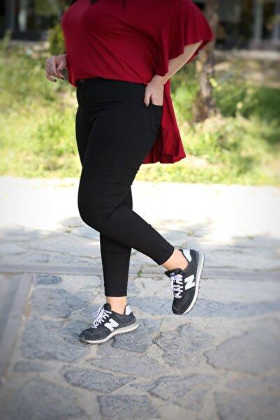 Kadın Siyah Büyük Beden Full Lı Yüksek Bel Gabardin Pantolon