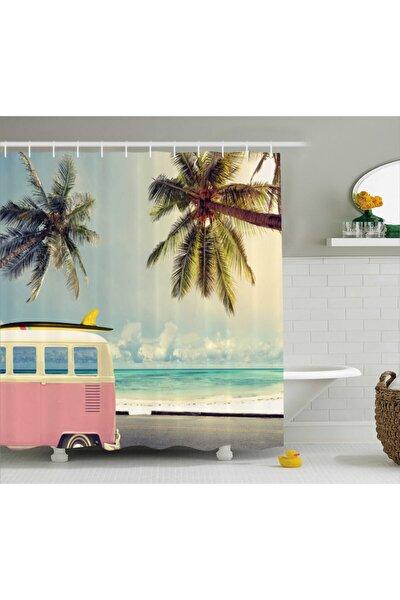 Retro Duş Perdesi Minibüs Deniz ve Sörf Desenli Rengirenk