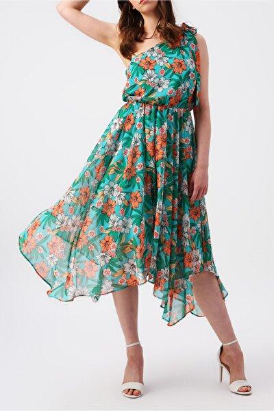 Kadın Eteği Asimetrik Tek Omuzlu Çiçek Desenli Elbise