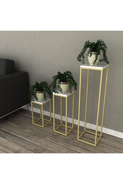 Saksı Standı Saksılık Çiçek Rafı Gold Metal