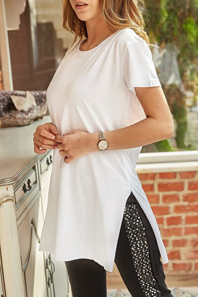 Kadın Beyaz Yırtmaçlı Bisiklet Yaka T-shirt 9yxk1-41909-01