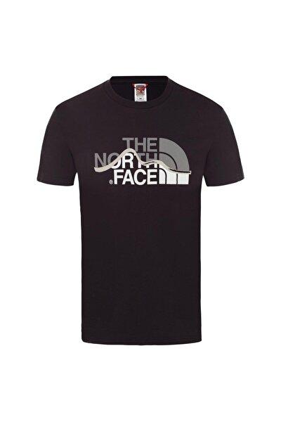M S/S Mountain Line Tee Erkek T-Shirt Siyah