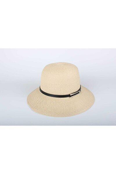 Kadın Hasır Şapka 2020 Yeni Trend Byn-27 Mini U Tokalı Bej