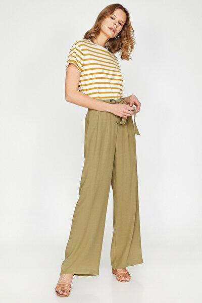 Kadın Yeşil Beli Bağlamalı Pantolon 9YAK48380CW