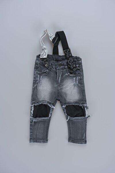Yırtık Detaylı Askılı Erkek Bebek Kot Pantolon 2068