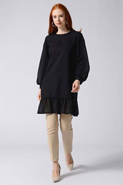Eteği Ve Kolları Ponpon Şifon Detaylı Uzun Tunik - Siyah