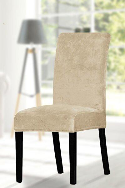 Sandalye Kılıfı. 6 Lı. Kaliteli Kadife Kumaş. Kenarları Lastikli En Boy Likralı Kılıf. Bej Rengi
