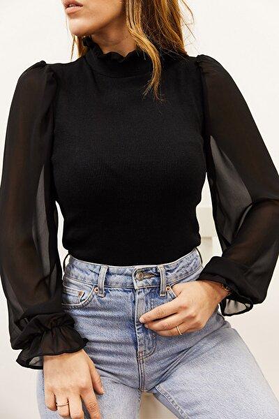 Kadın Siyah Kolu & Yakası Şifon Bluz 9KXK2-43154-02