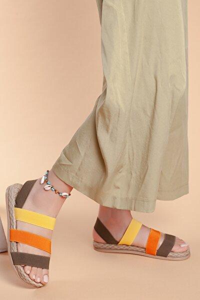 Kadın  Ortopedik Şeritli Sandalet D035