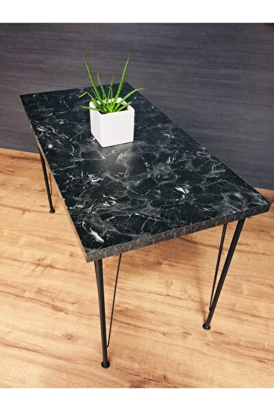 Metal Siyah Mermer Desen Dekoratif Mutfak Masası 60x120cm