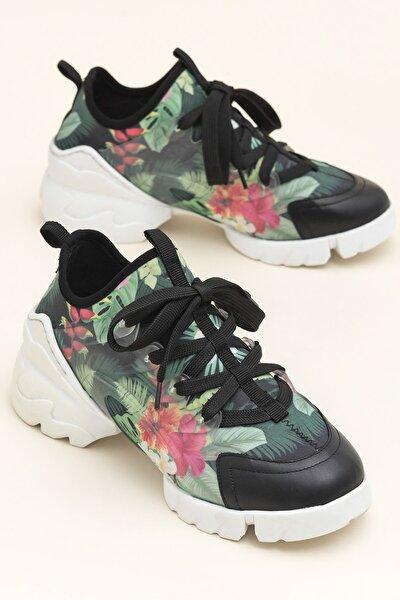 NADEA Siyah Çiçekli Kadın  20YSDMO133-2