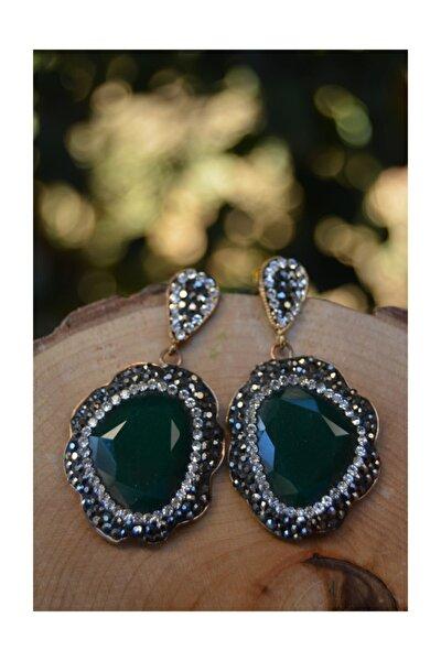 Özel Tasarım Yeşil Kristal Taşlı Kadın Küpe