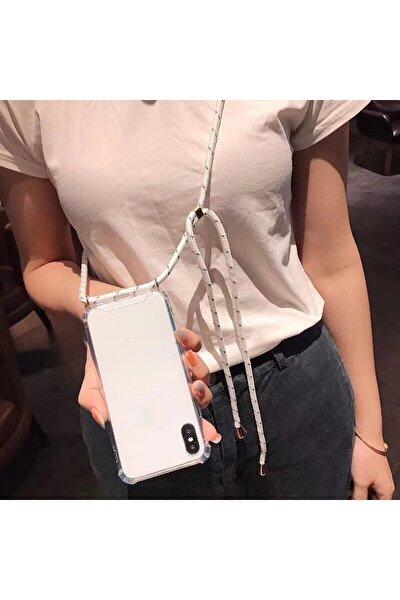 Iphone X Için Boyun Askılı Şeffaf Çok Şık Kılıf Beyaz Ipli